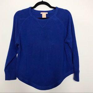 Sweet Romeo Rounded Hem Crewneck Sweater Cobalt S
